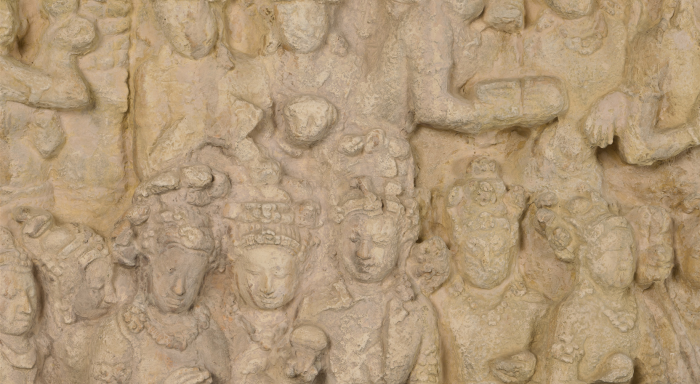 Six panels from the Temple of Borobudur, Indonesia